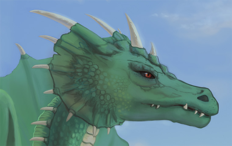 Head of a green dragon