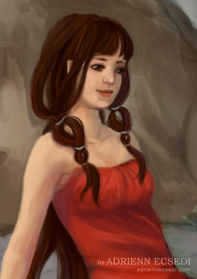 Brown haired elf girl portrait
