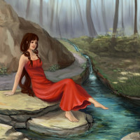 Forest Rivulet fantasy painting