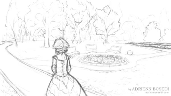 Walking in the Garden sketch