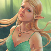 Charlotte - fantasy elven portrait painting by Adrienn Ecsedi