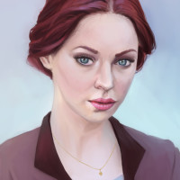 Woman portrait painting by Adrienn Ecsedi