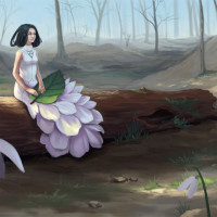 Snowdrop - digital painting by Adrienn Ecsedi