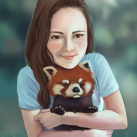 Red Panda Hug painting by Adrienn Ecsedi