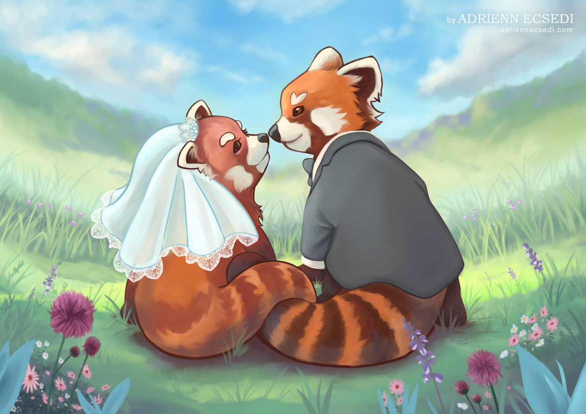 Red panda couple painting by Adrienn Ecsedi