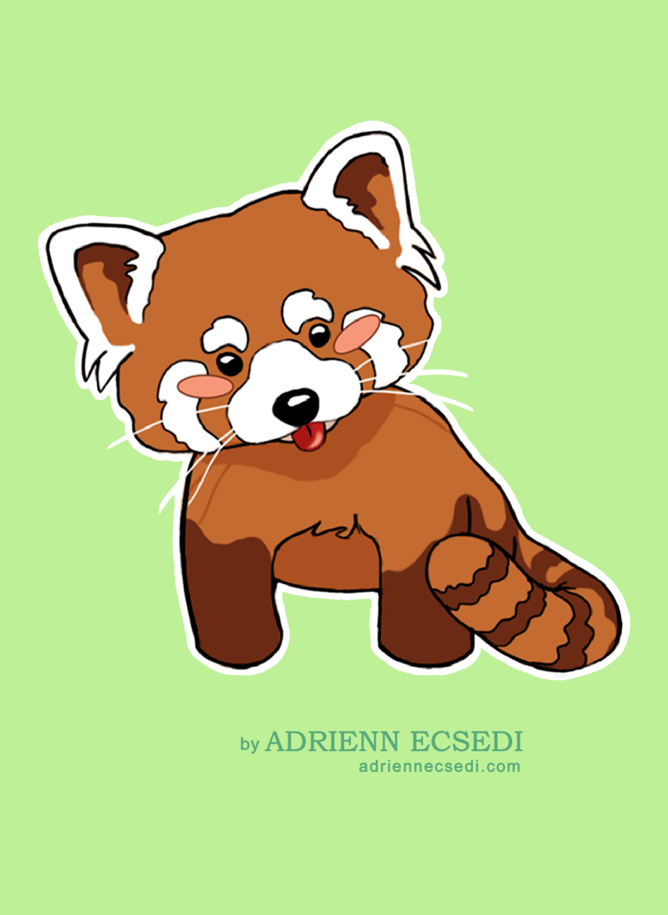 A blushing cute red panda with his tongue out.