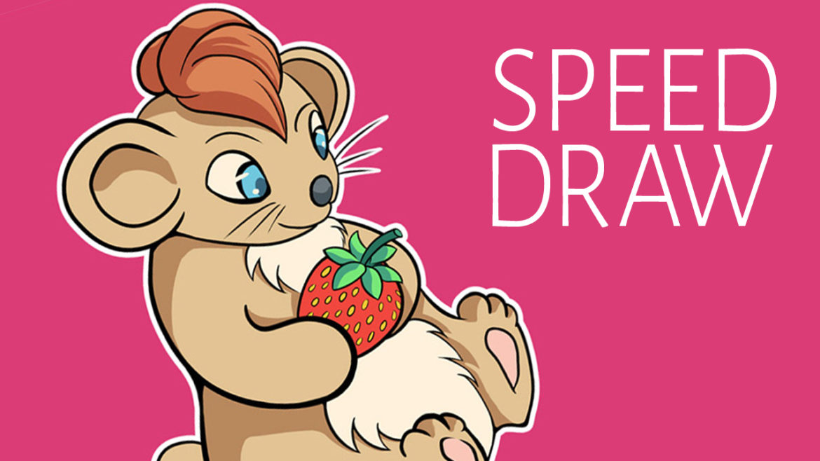 Speed drawing - Hamster with strawberry