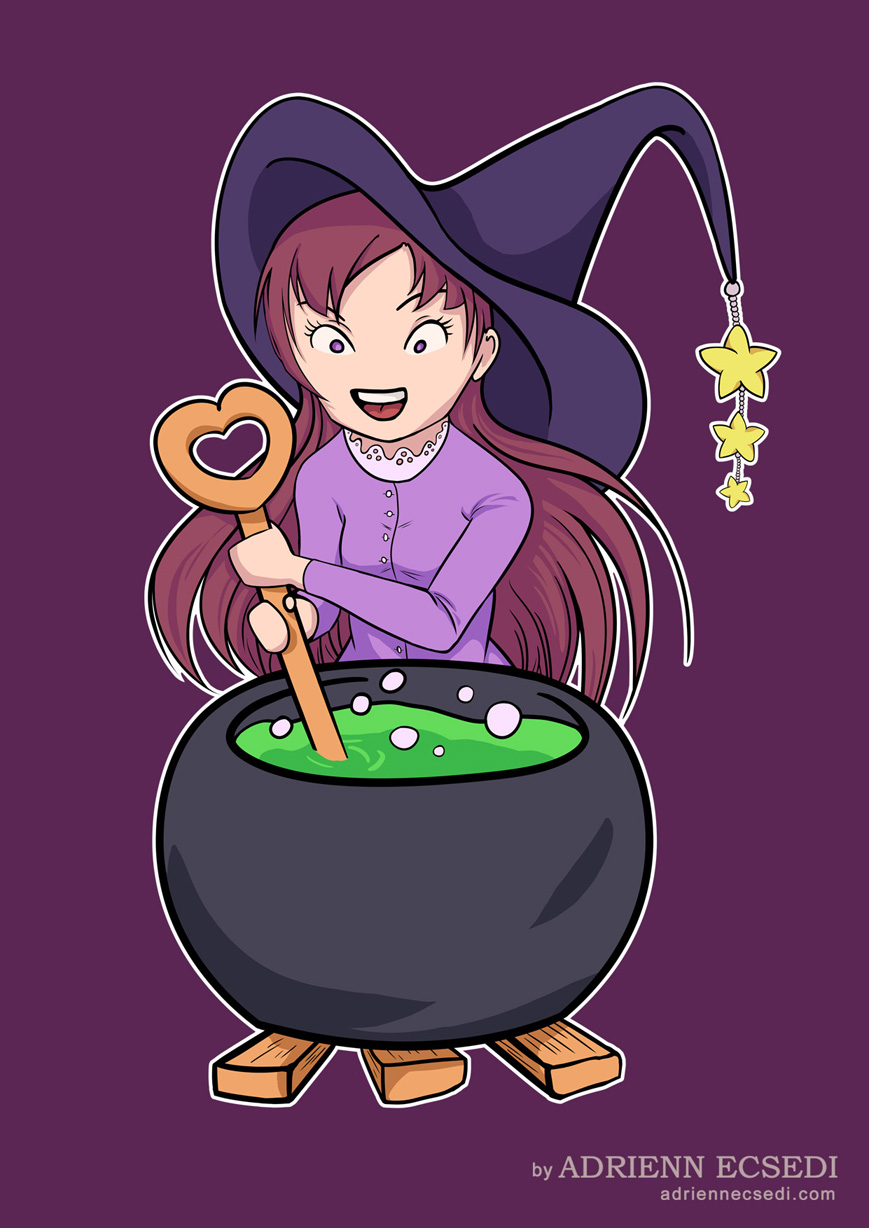 A Little Witch makes some potion.